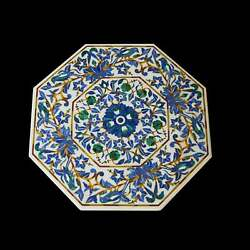 24and039and039 White Marble Table Top Center Corner Lapis Malachite Inlay Decor Antique L7