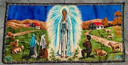 """Vintage Tapestry Rug Wall Hanging quot;The Virgin Maryquot; Made In LEBANON 39"""" x 19"""" ❤"""