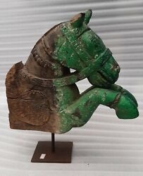 Antique Old Wooden Hand Carved South India Horse Head Wall Brackets Bust Nh6520
