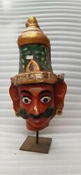 Antique Old Wooden Hand Carved South India Ravana Head Wall Hanging Bust Nh6521