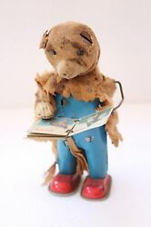 Vintage Wind Up Bear Mechanical Automated Book Turn Tin Toy Made In Japan Nh2902