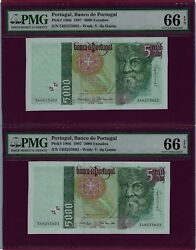 Portugal 2 X 5000 Escudos 1997 P-190 Unc Graded Running Numbers