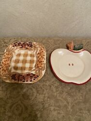 Yankee Candle 2 Candle Plates Autumn Fall Apple And Corn