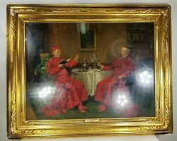 Antique Oil Painting On Panel Cardinals Priests Newcomb Macklin Frame Signed