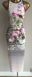 Ted Baker Laya Pure Peony Stripe Striped Summer Holiday Dress 12 £119