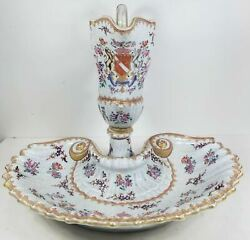 Antique Fine French Porcelain Samsons Ewer Pitcher And Basin Armorial