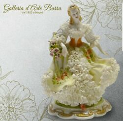 Capodimonte Porcelain Lady To Wind Of Primavera. Dress Lace In Porcelain