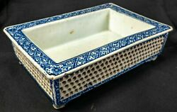 Antique Chinese Japanese Blue And White Reticulated Jardiniere Planter Bonsai