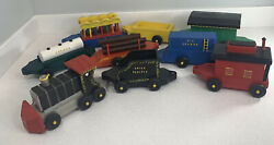 Vintage  Wooden Decorative Toy Circus Train 11 Piece Set Hand Painted