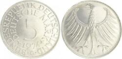 5 Dm J.387 Silver Currency Coin 1974 G Without Randschrift Edge Smooth 42914