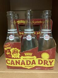 Vintage Canada Dry Soda Bottles Carrier-terry And The Pirates On Tv Carton Rare