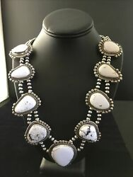Rare Handmade Navajo Sterling Silver White Buffalo Turquoise Necklace 22andrdquo 1779