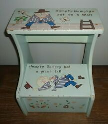 Vintage 1950's Wooden Childs Step Stool Hand Painted Humpty Dumpty Book Theme