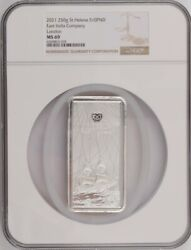 2021 St. Helena £10 - East India Company 250g Silver - Ngc Ms69
