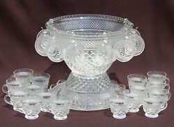 Wexford Anchor Hocking - Punch Bowl, 24 Cups And Underplate - Diamond Quilted