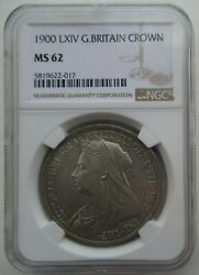 Ngc Ms62 Great Britain Uk 1900 Queen Victoria Silver Coin 1 Crown