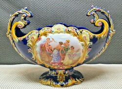 Antique Superb Planter Decorative Earthenware Blue Angel Of Love And Ladies
