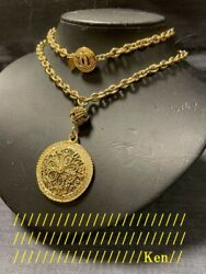 Necklace Pendant Auth Coco Logo Cc Vintage Rare Gold Medal Coin Stone F/s