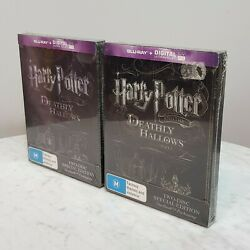 Harry Potter And The Deathly Hallows Part 1 And 2 Steelbook Se Blu Ray New Rare