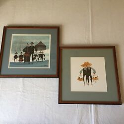 2 P Buckley Moss Framed Lithograph Prints 1988 Signed Limited Ed 1000 Family