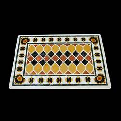 5'x3' White Marble Table Top Stone Inlay Center Coffee Malachite Antique Y2