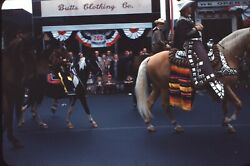 Parade People Horses Boy Pony Sioux City 1960 35mm Kodachrome Red Border Slide