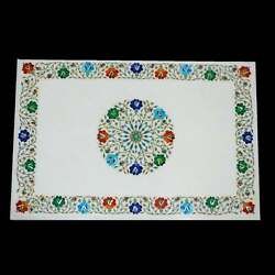30and039and039x20and039and039 White Marble Table Top Stone Inlay Center Coffee Malachite Antique Y3