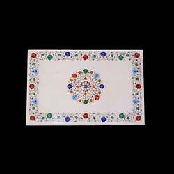 30and039and039x20and039and039 White Marble Table Top Stone Inlay Center Coffee Malachite Antique Y5