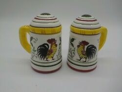Vintage Py Japan Rooster And Flowers Salt And Pepper Shakers