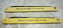 Vintage 1930 1940 Schrade Cut Advertising Folding Knives - Swift's And Wilson's