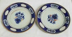 Antique Chinese Pair Export Plates Dishes Floral Blue Enamel