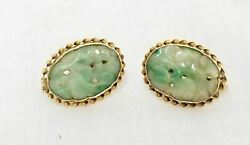 Antique Chinese Jadeite Jade 14kt Carat Gold Mounted Earrings Jewelry