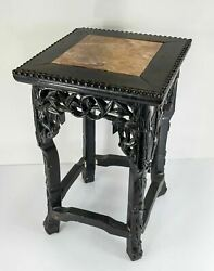 Antique Chinese Carved Marble Top Hardwood Plant Table Stand Rosewood Hongmu