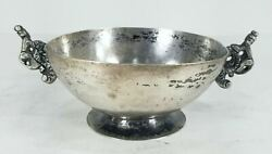 Antique Early 17th 18th Century Spanish Colonial Silver Bowl With Monkeys