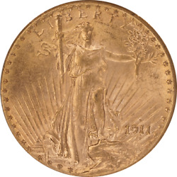 1911-d Saint St. Gaudens 20 Gold Double Eagle Ogh Pcgs Ms 62 Old Green Holder