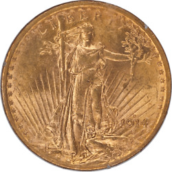 1914-s Saint St. Gaudens 20 Gold Double Eagle Old Rattler Holder Pcgs Ms 62