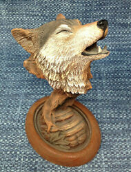 Rick Cain Wood Song Wolf Howling Limited Edition Sculpture Statue 8 Euc