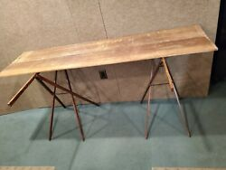 Antique Ridgely Portable Wallpaper Table With Folding And Adjustable Legs