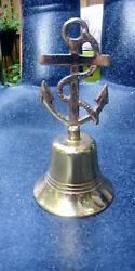 Vintage English Brass Anchor Top Bell 6.5x3.5