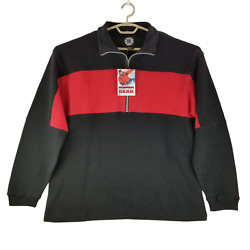 Marlboro Unlimited Gear Mens Black Red 1/3 Zip Collared Pullover Jacket Size L