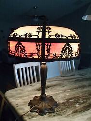 Vintage Bradley And Hubbard Era 1920and039s Hand Made Antique Lead Glass Lamp