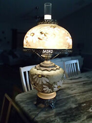 Signed Large Hand Painted Gone With The Wind Antique Glass Lamp Beautiful