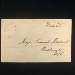 Ny Rushville 1838 Stampless Cover No Content, Docket Re Deserter