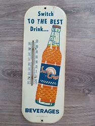 Vintage Advertising Sun Crest Soda Pop Fountain Store Thermometer 2