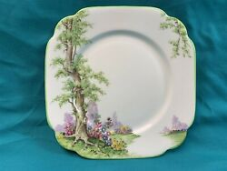 Royal Albert Greenwood Tree Square Side Plate - 6 3/4 With Green Trim