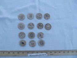 Large Lot Of 14 Wooden Nickels Varies Locations Around Usa Simi Valley Laredo Tx