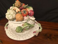 Fitz And Floyd Vegetable Tureen And Platter 4 Pieces- Tureen, Lid, Ladle And Platter