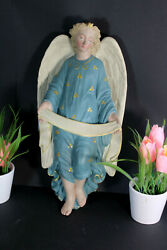 Antique French Chalkware Wall Angel Figurine Religious