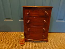 Antique 19th.c Federal Style Cherry And Walnut Veneered Miniature Bow Front Chest