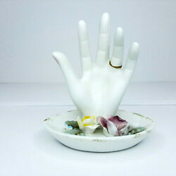 Vintage Porcelain Bisque Hand Ring Dish Made In Japan 1950and039s Flowers Leaves